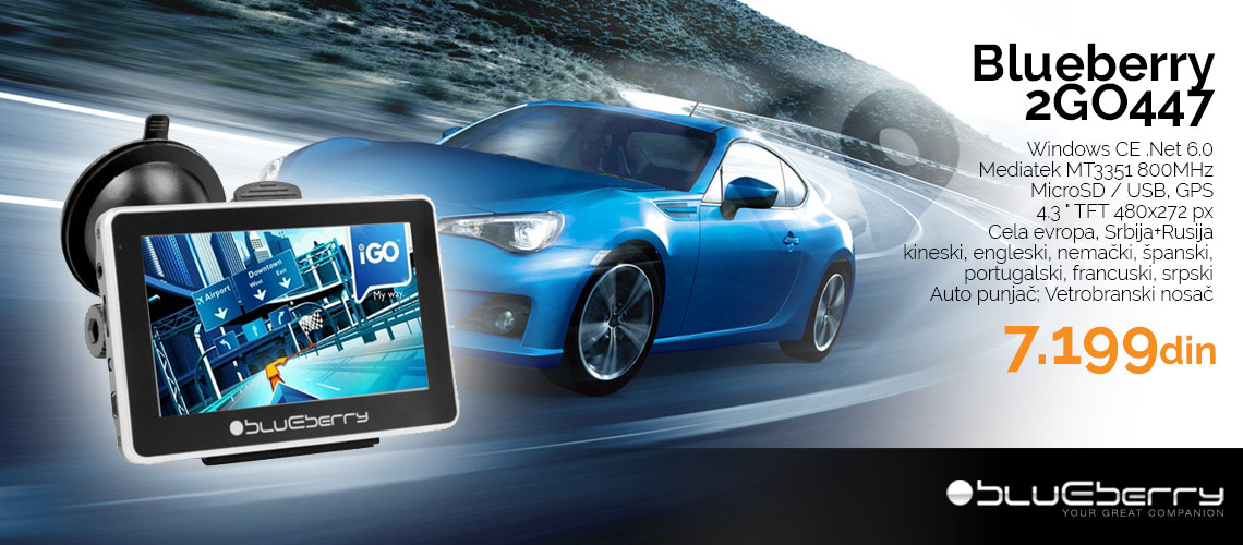 """Auto navigacija Blueberry 2GO447 GPS, 4.3"""" LCD"""
