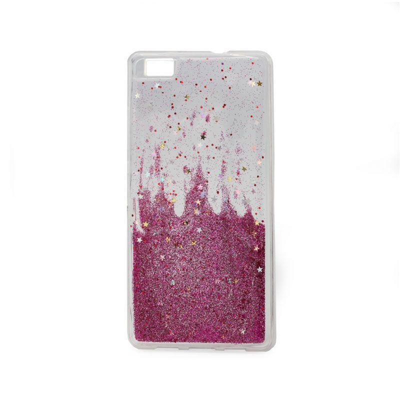 Futrola silikon Leaves ombre za Huawei P8 lite, pink