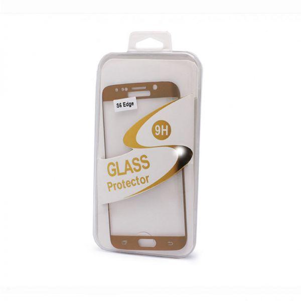 Staklo folija za Samsung G925 S6 Edge, zakrivljena zlatna