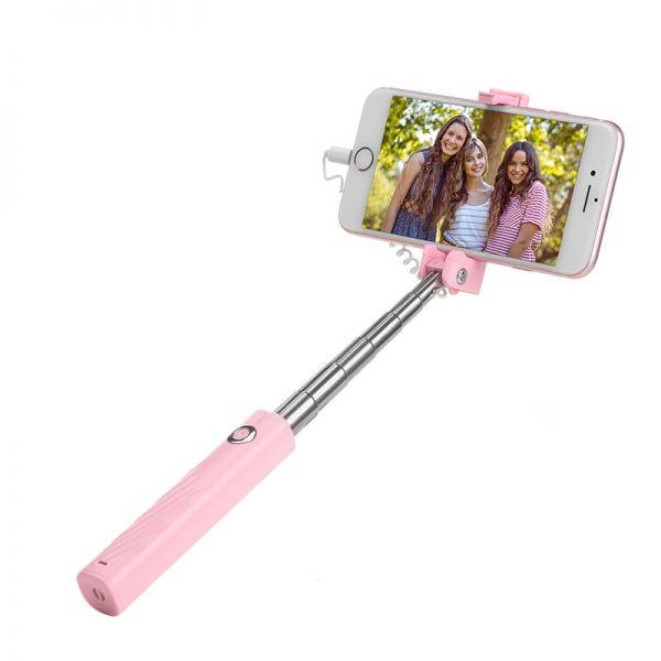 Selfie štap K8 Starry mini lightning wired monopod pink
