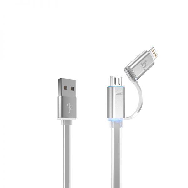 Hoco UPL08 Metalni kabal 2u1 Micro/Iphone 5/6 120cm, srebrni