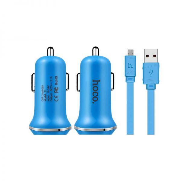 Hoco set Z1 Auto punjač i kabl micro USB plavi