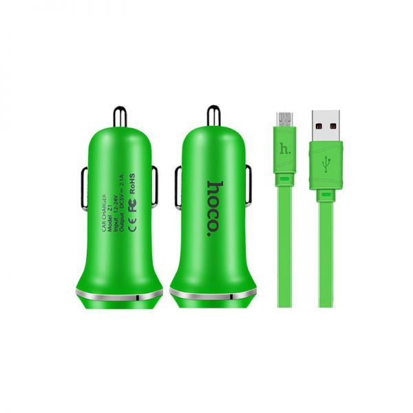 Hoco set Z1 Auto punjač i kabl micro USB zeleni