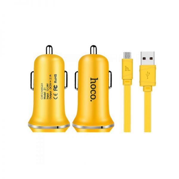 Hoco set Z1 Auto punjač i kabl micro USB žuti