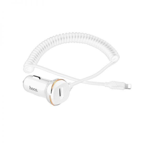 Hoco Z14 auto punjač sa opruga kablom za iPhone beli