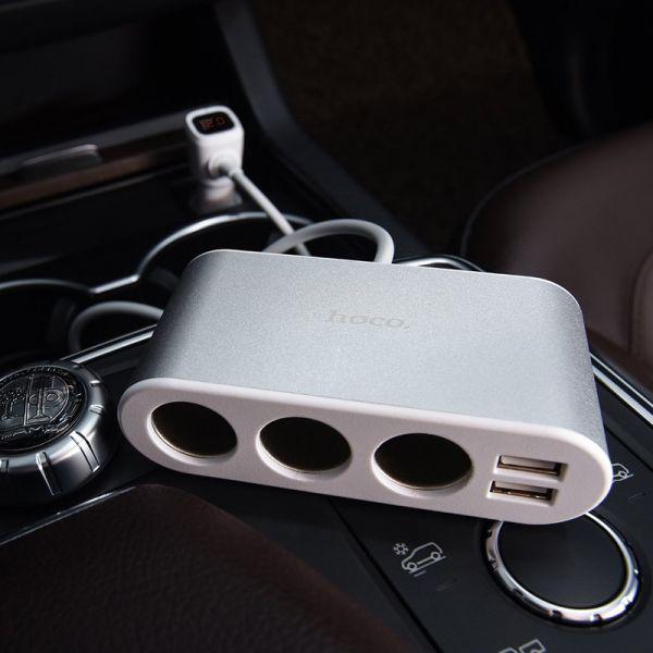 Hoco Z13 LCD one-pull-three auto punjač razdvajač