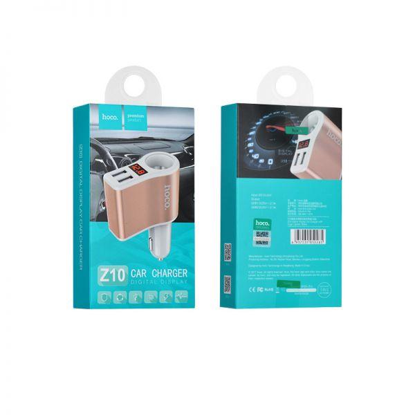 Hoco Z10 auto punjač dual USB upaljač sa LED displejem
