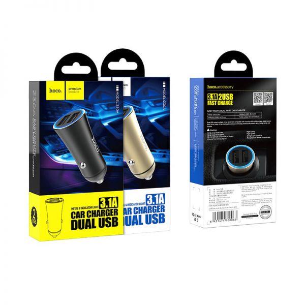 Hoco Z30A Easy route dual USB auto punjač crni