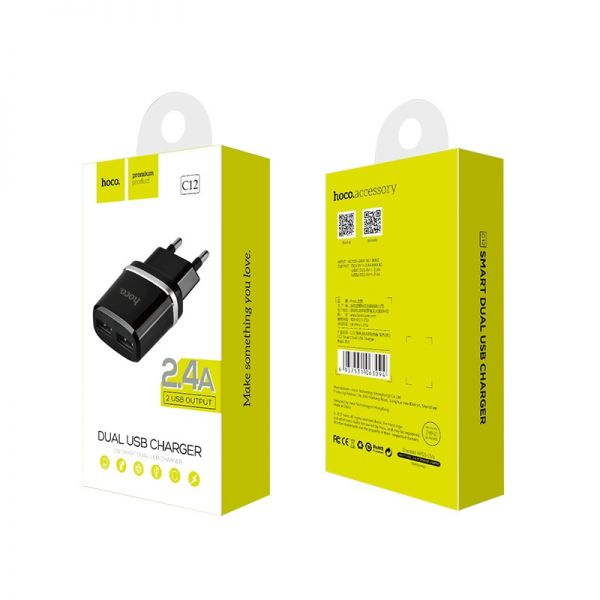 Hoco C12 Smart dual USB kućni punjač 2,4A crni