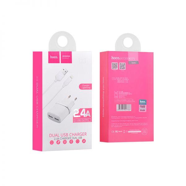 Hoco set C12 Smart dual USB kućni punjač 2,4A beli sa lighting kablom