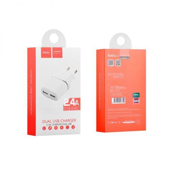 Hoco C12 Smart dual USB kućni punjač 2,4A beli