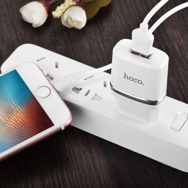 Hoco set C11 Smart kućni punjač 1A beli sa lighting kablom