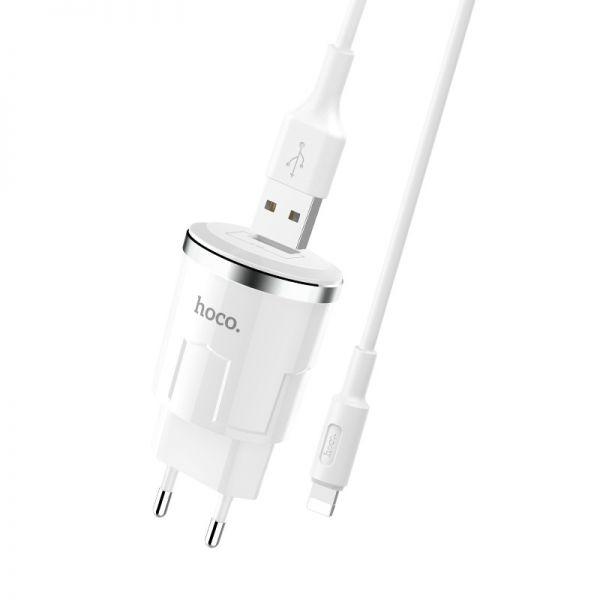 Hoco set C37A Thunder power kućni punjač 2,4A beli lighting kabl