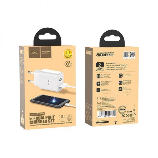 Hoco set C62A Victoria kućni punjač dual USB 2,1A beli micro USB kabl