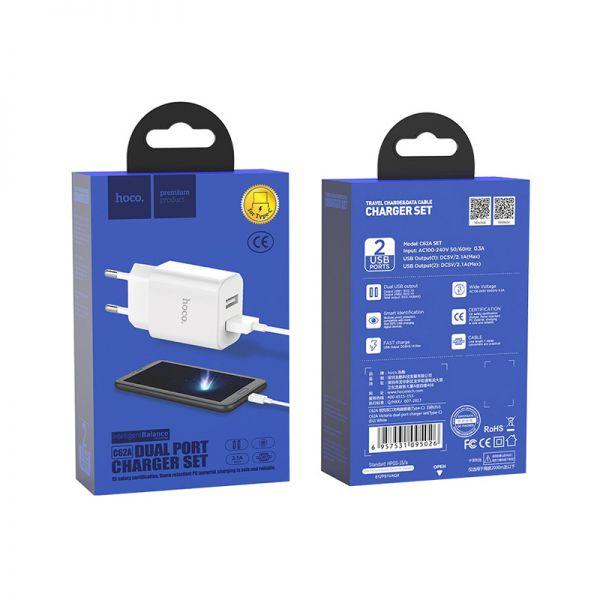 Hoco set C62A Victoria kućni punjač dual USB 2,1A beli type-c kabl