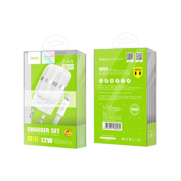 Hoco set C41A Wisdom kućni punjač dual USB 2,4A beli lighting kabl