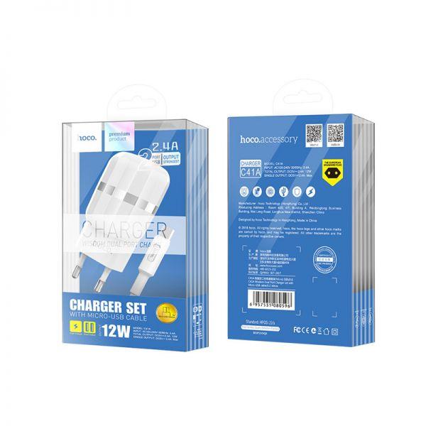 Hoco set C41A Wisdom kućni punjač dual USB 2,4A beli micro USB kabl