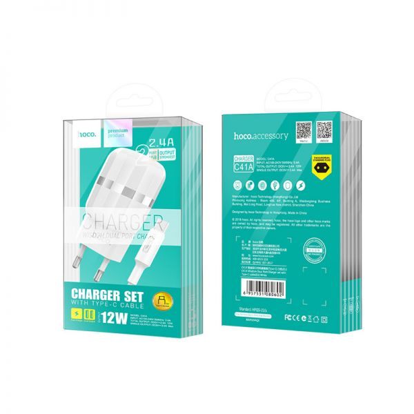 Hoco set C41A Wisdom kućni punjač dual USB 2,4A beli type-c kabl