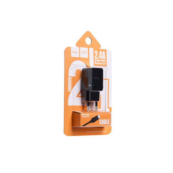 Hoco set C22A little superior kućni punjač DC5V 1.0A crni micro USB kabl