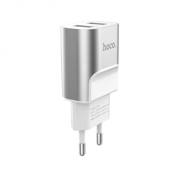 Hoco C47A Metal dual USB kućni punjač 2,1A srebrni