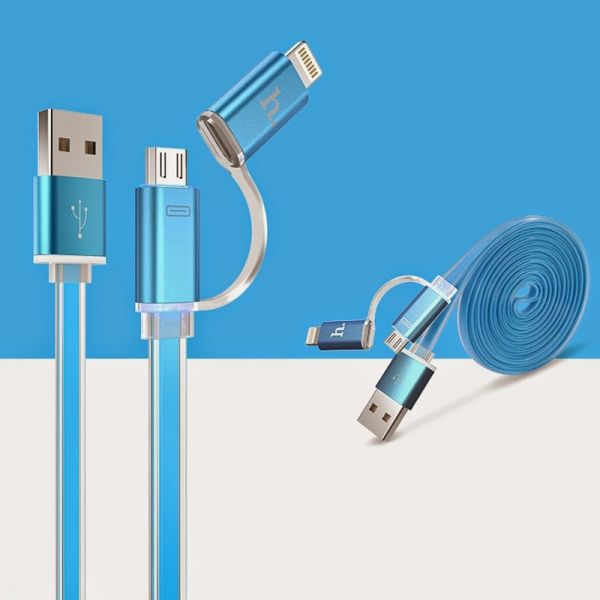 Hoco UPL08 Metalni kabal 2u1 Micro/Iphone 5/6 120cm, plavi