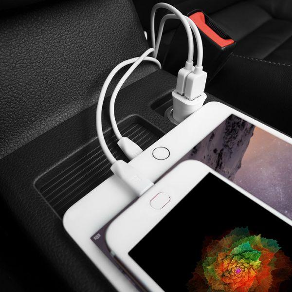 Hoco set Z12 Elite dual USB auto punjač beli i micro USB kabl