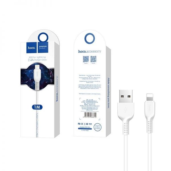 Hoco X20 Flash lightning USB kabl za iPhone beli 1m