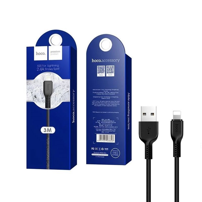 Hoco X20 Flash lightning USB kabl za iPhone crni 3m