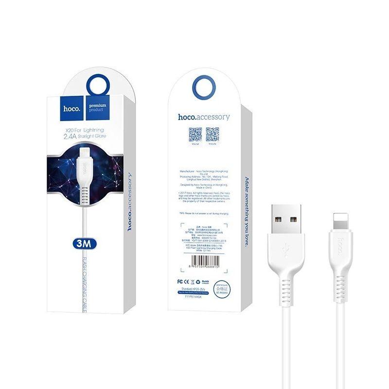 Hoco X20 Flash lightning USB kabl za iPhone beli 3m