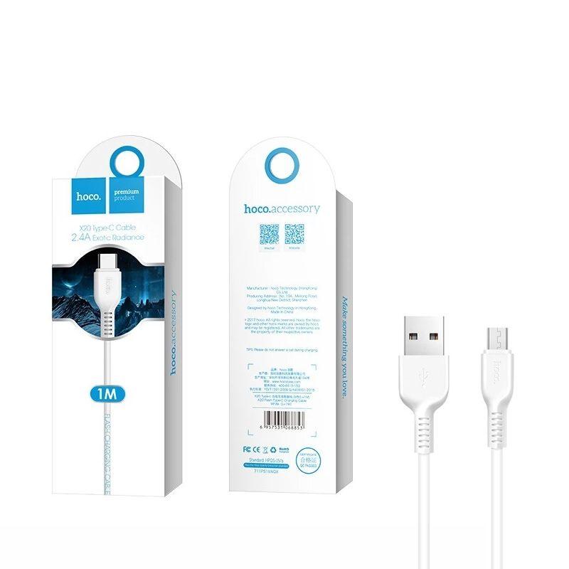 Hoco X20 Flash micro USB kabl beli 1m