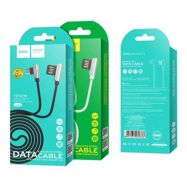 Hoco U42 Exquisite steel micro USB kabl crni