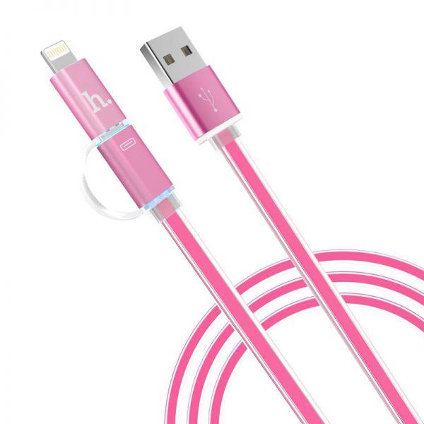 Hoco UPL08 Metalni kabal 2u1 Micro/Iphone 5/6 120cm, roze
