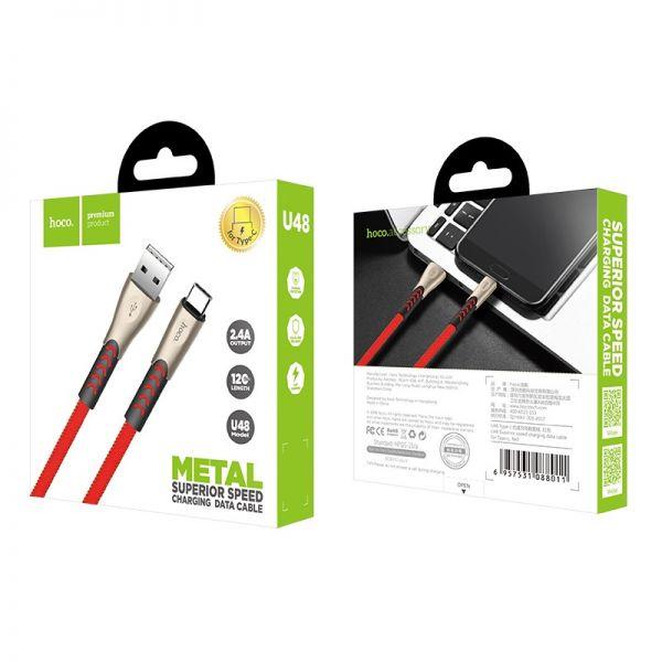 Hoco U48 Superior speed type-c USB kabl crveni