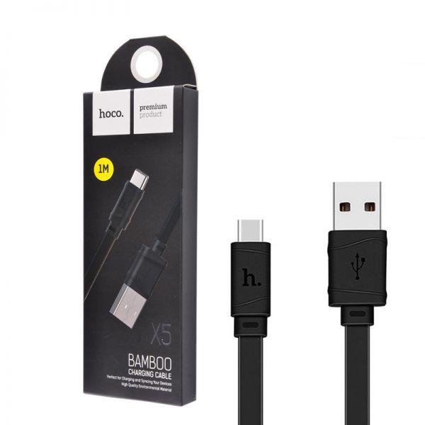 Hoco X5 Bamboo type-c USB kabl crni