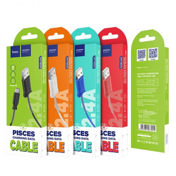 Hoco X24 Pisces micro USB kabl crveni