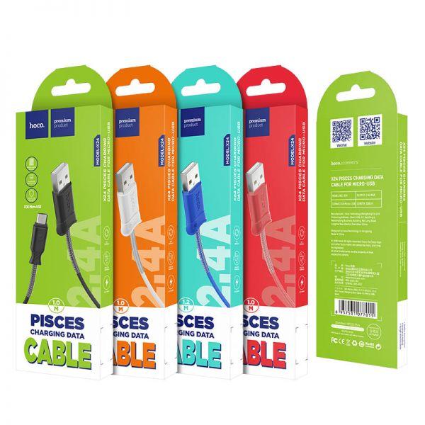 Hoco X24 Pisces micro USB kabl crni