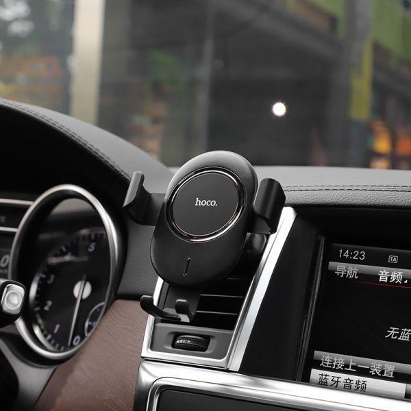 HOCO CW17 Sage in car wireless fast charger black drzac za mobilni telefon