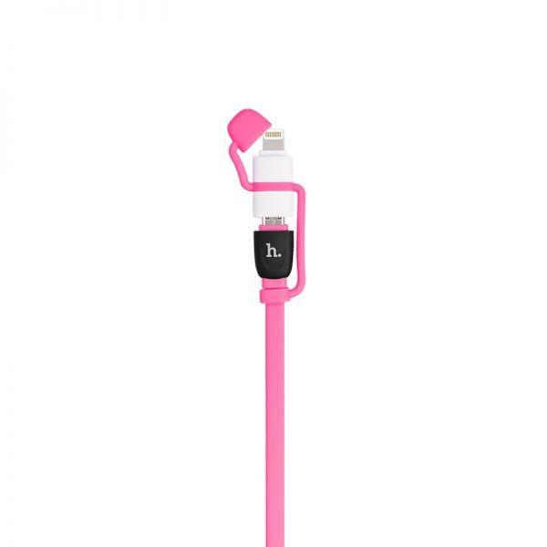 Hoco UPL21 Kabal 2u1 iPhone/Micro 120cm, pink