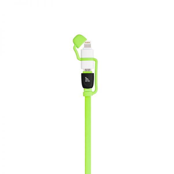 Hoco UPL21 Kabal 2u1 iPhone/Micro 120cm, zeleni