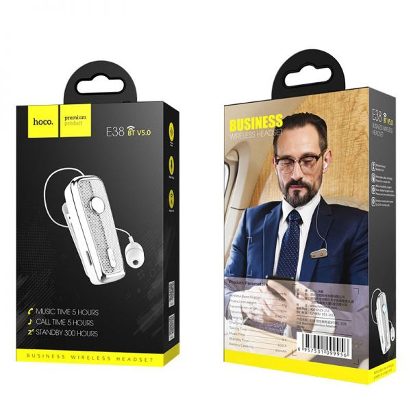 Hoco bluetooth wireless slušalice E38 Business sa mikrofonom bele