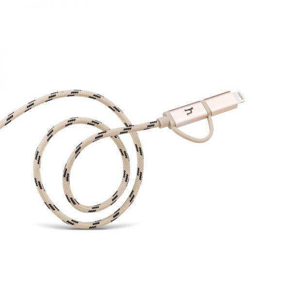 Hoco UPL20 Pleteni metalni kabal 2u1 Micro/iPhone 5/6 120cm, zlatni