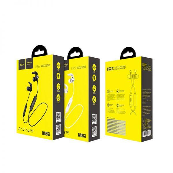Hoco bluetooth wireless sportske slušalice ES22 Flaunt sa mikrofonom srebrne