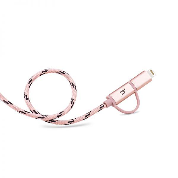 Hoco UPL20 Pleteni metalni kabal 2u1 Micro/iPhone 5/6 120cm, roze zlatni