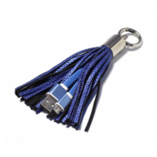 DATA KABEL SA PRIVESKOM MICRO USB PLAVI