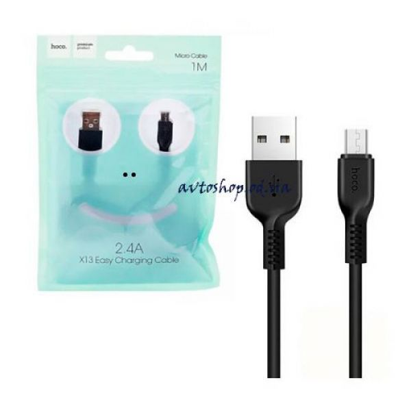HOCO X13 Easy charged Micro charging cable - black and white