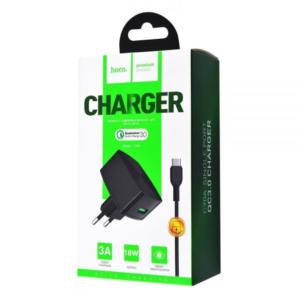HOCO C70A Cutting-edge single port QC3.0 charger set(Type-C)(EU)