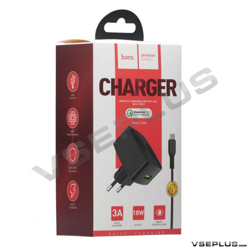 HOCO C70A Cutting-edge single port QC3.0 charger set(Micro)(EU)