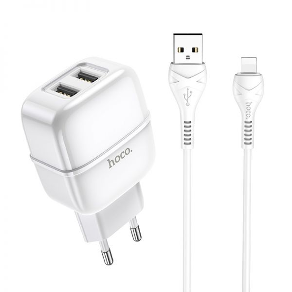 "HOCO Wall charger ""C77A Highway"" dual port charger EU plug set with cable (iPhone)"