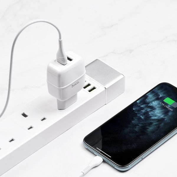 """HOCO Wall charger """"C77A Highway"""" dual port charger EU plug set with cable (iPhone)"""