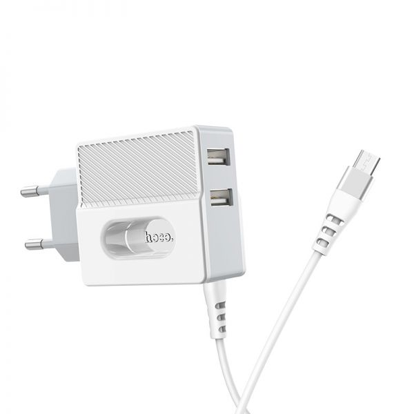 "HOCO Wall charger ""C75 Imperious"" dual USB port EU with built-in wire(iPhone)"